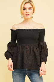 Style U Smocked Eyelet Off-Shoulder Top - Product Mini Image