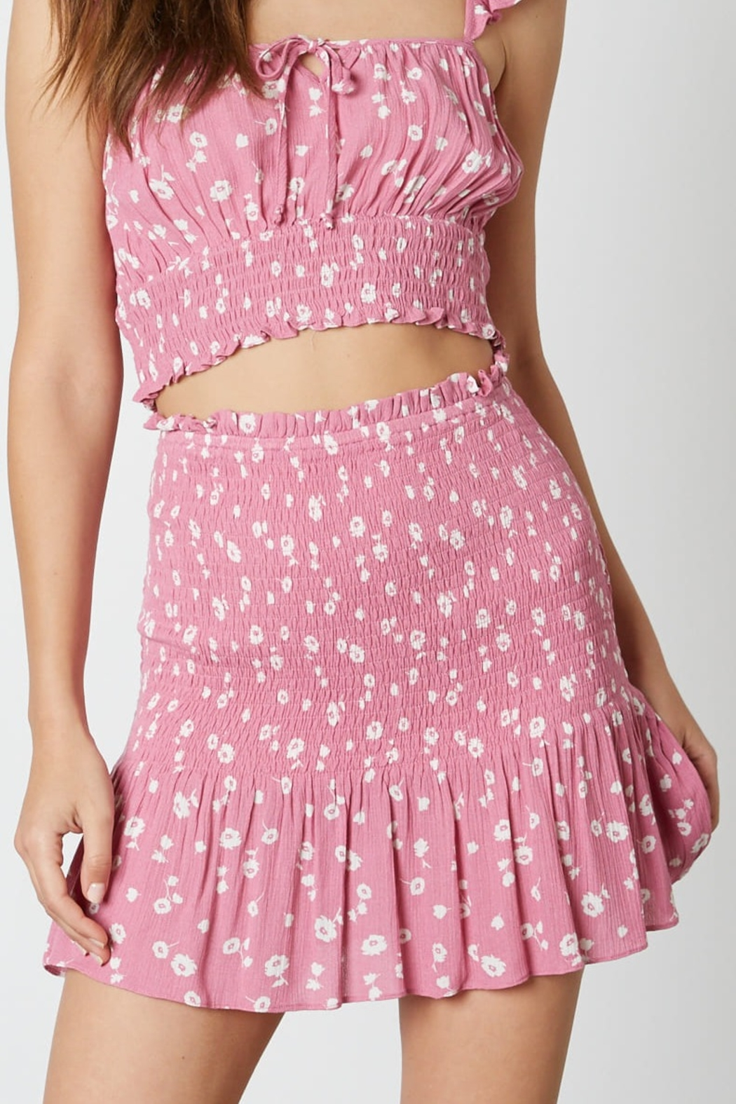 Cotton Candy  Smocked Floral Skirt - Front Cropped Image