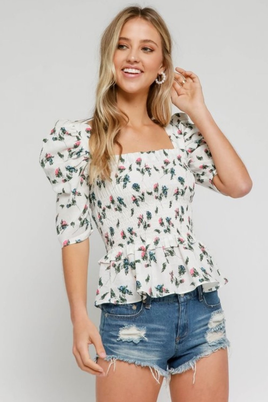 Olivaceous Smocked Floral Top - Front Cropped Image