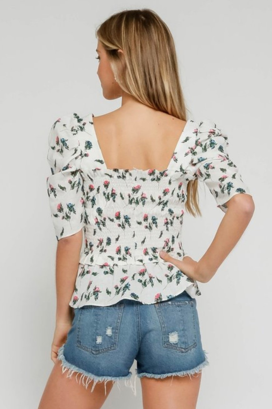 Olivaceous Smocked Floral Top - Side Cropped Image