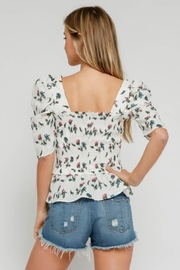 Olivaceous Smocked Floral Top - Side cropped