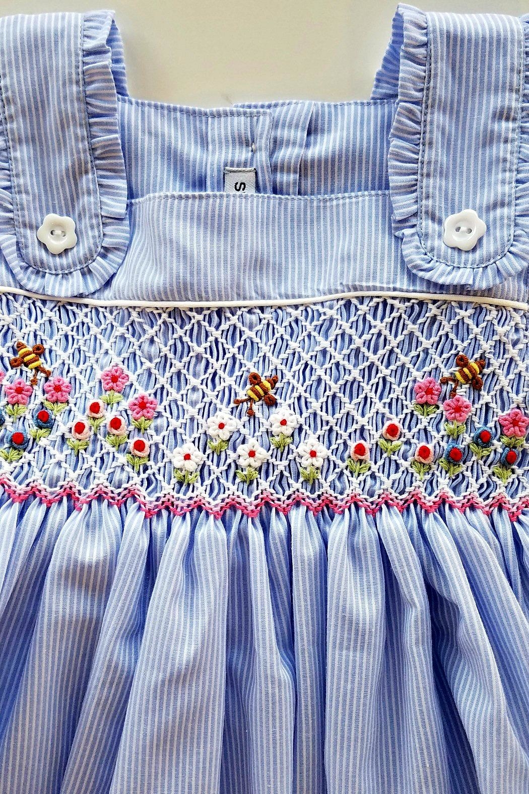 Sweet Dreams Smocked-Flowers-And-Bubble-Bees Apron Dress - Side Cropped Image