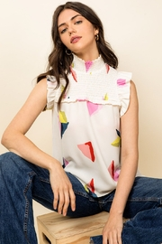 Thml Smocked Flutter Sleeve Top - Product Mini Image