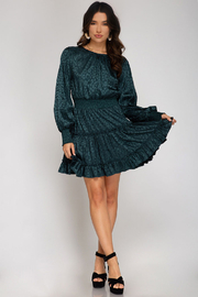 She and Sky Smocked Long Sleeve Jaquard Dress - Other