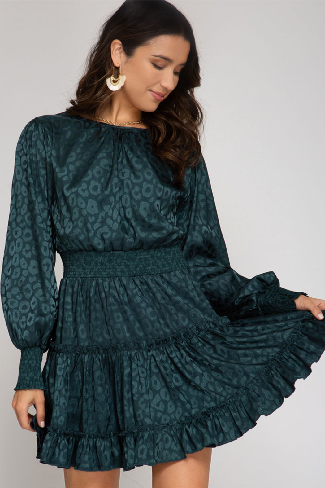 She and Sky Smocked Long Sleeve Jaquard Dress - Front Cropped Image