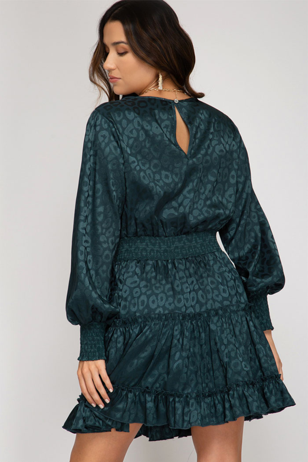 She and Sky Smocked Long Sleeve Jaquard Dress - Front Full Image