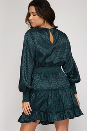 She and Sky Smocked Long Sleeve Jaquard Dress - Front full body