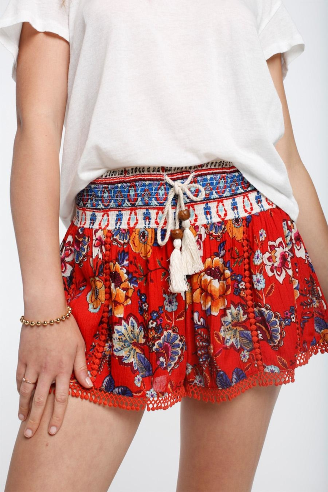 Patrons of Peace Smocked Lace Shorts - Front Full Image