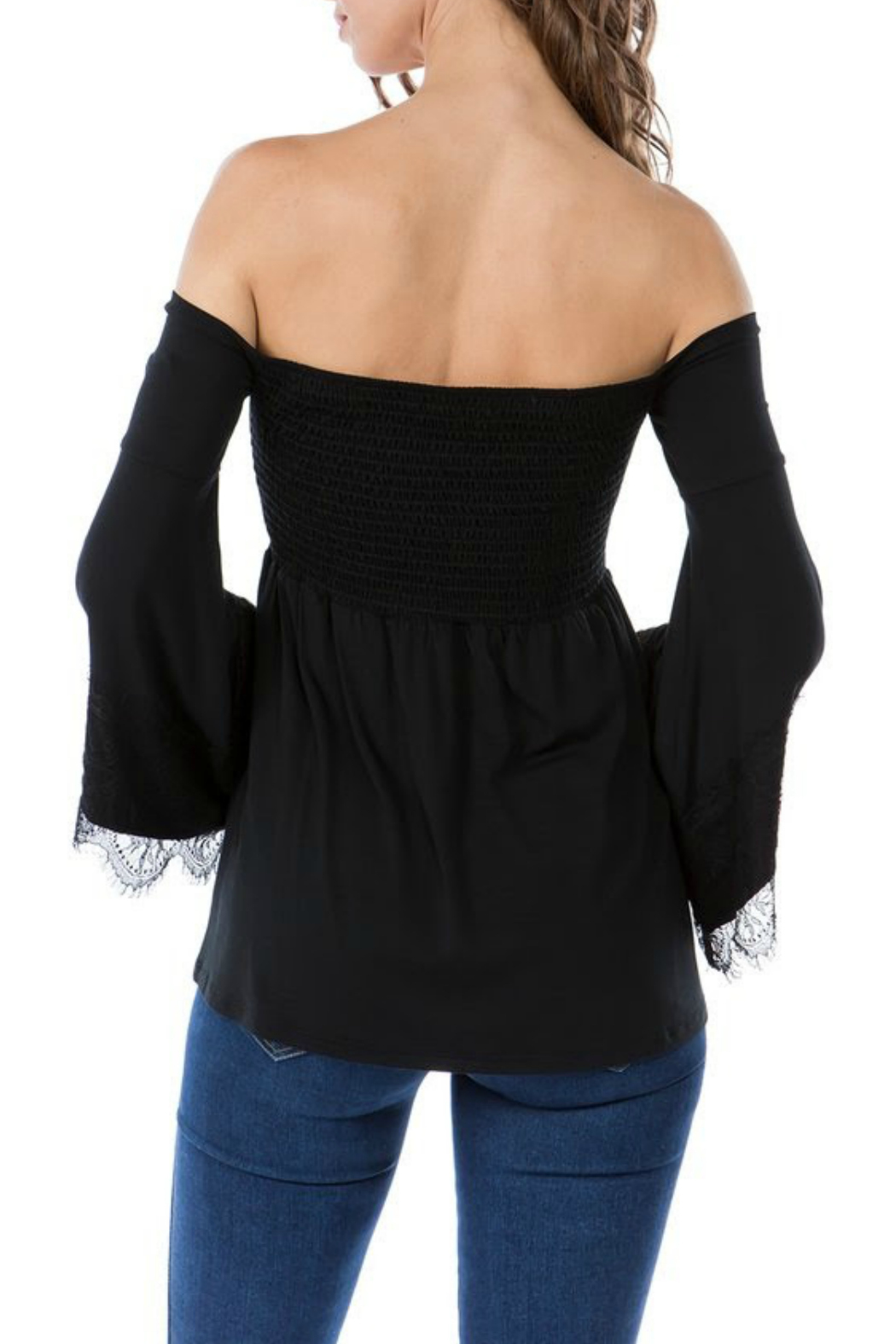 Vava by Joy Hahn Smocked Lacey Bell Sleeve Top - Side Cropped Image