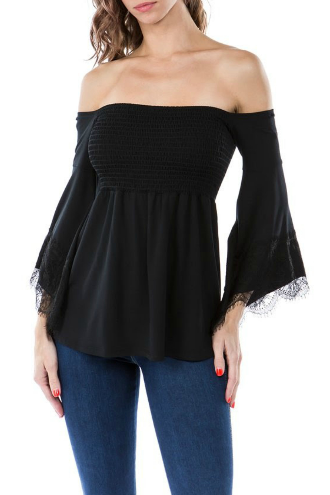 Vava by Joy Hahn Smocked Lacey Bell Sleeve Top - Main Image