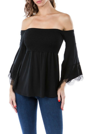 Vava by Joy Hahn Smocked Lacey Bell Sleeve Top - Product Mini Image