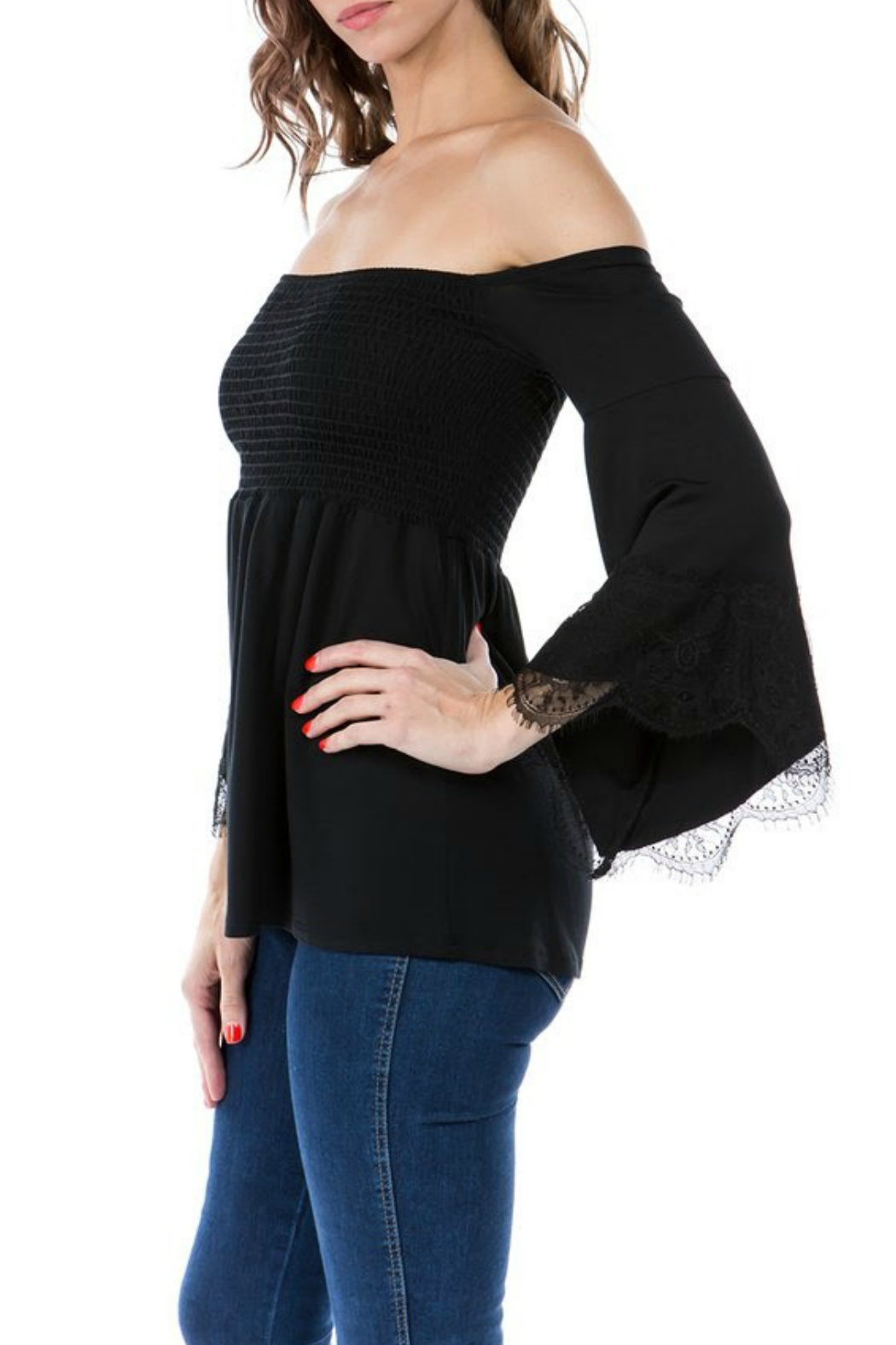 Vava by Joy Hahn Smocked Lacey Bell Sleeve Top - Front Full Image