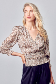 Do + Be  Smocked Leopard Blouse - Front cropped