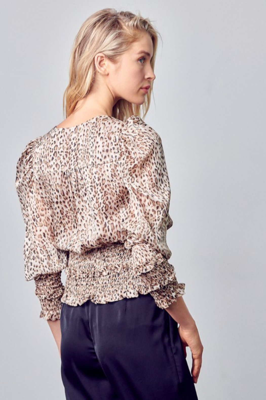 Do + Be  Smocked Leopard Blouse - Side Cropped Image