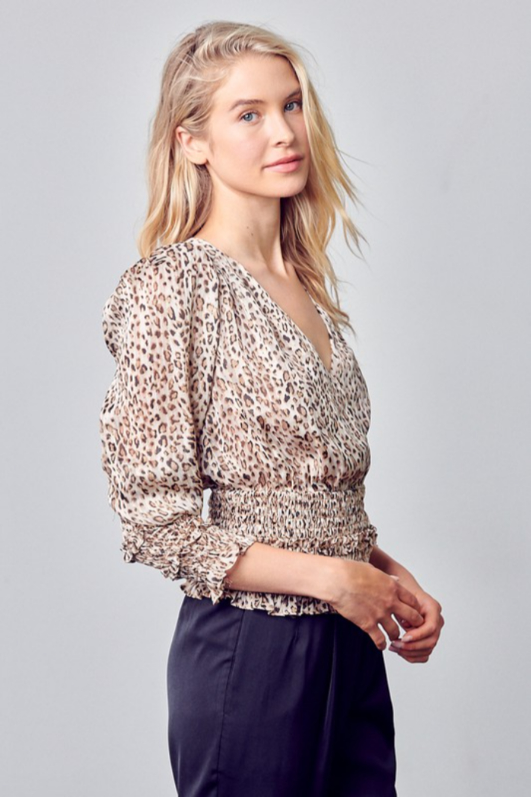 Do + Be  Smocked Leopard Blouse - Front Full Image