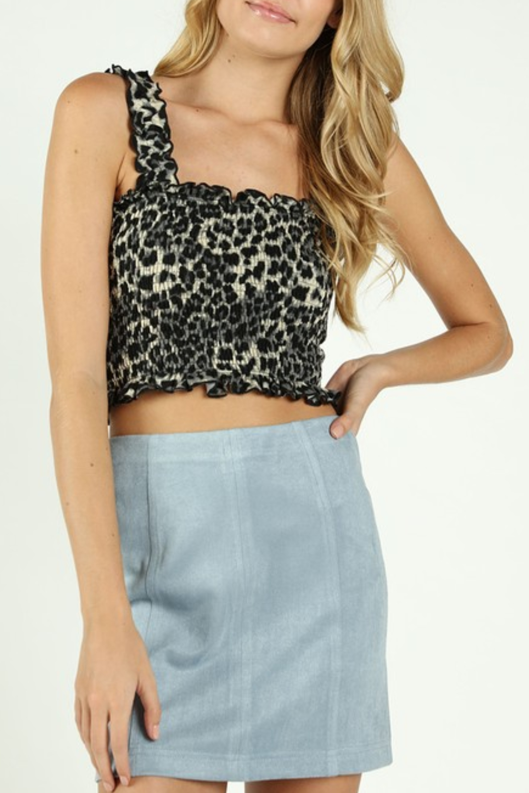 Wild Honey Smocked Leopard Crop Top - Main Image