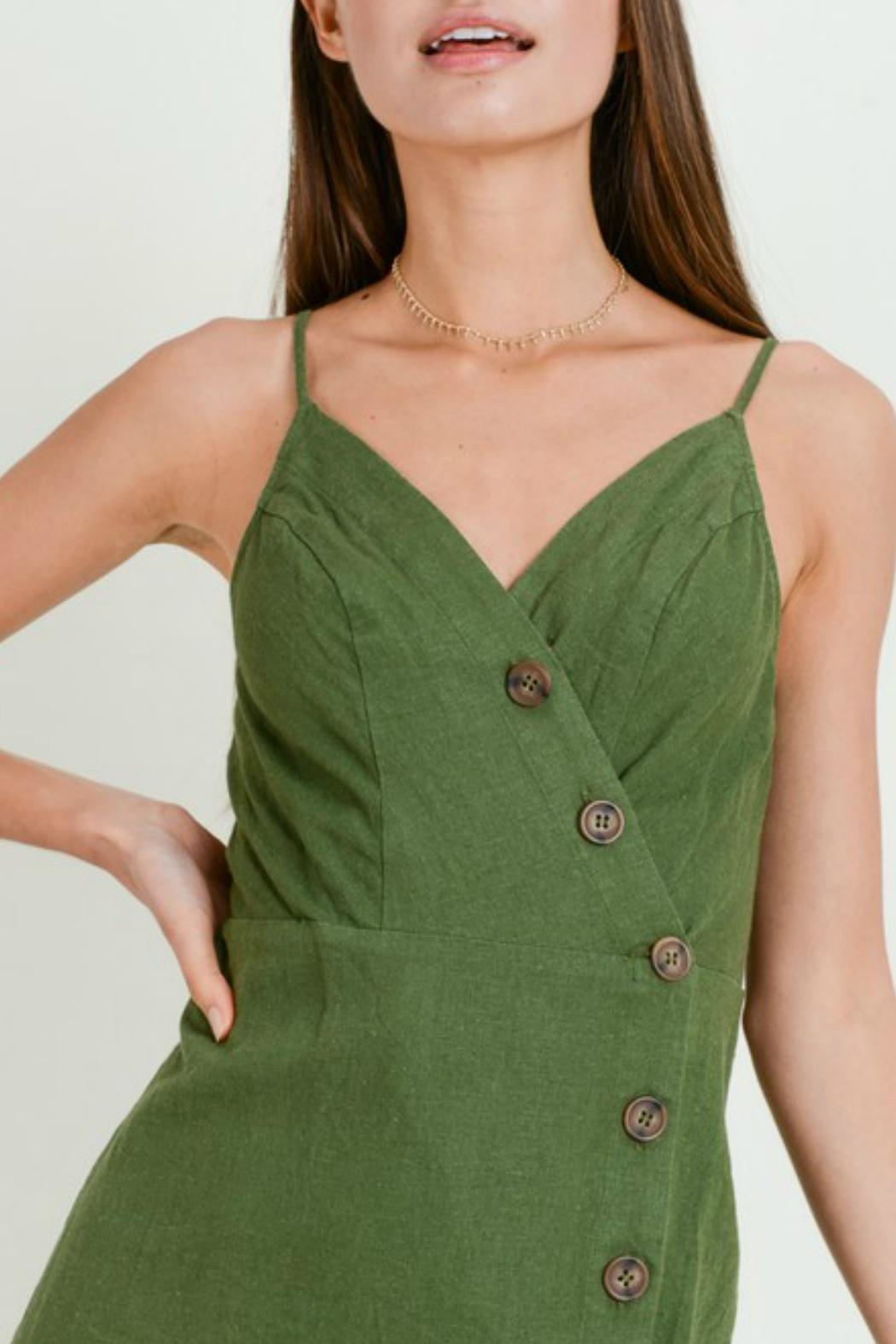 ALB Anchorage Smocked Linen Midi-Dress - Side Cropped Image