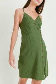 ALB Anchorage Smocked Linen Midi-Dress - Front cropped