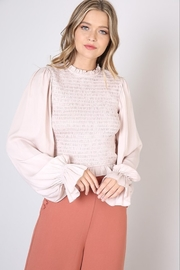 Do & Be Smocked Long Sleeve Blouse - Front cropped
