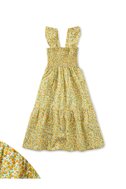 Tea Collection  Smocked Midi Dress - Wildflowers In Gold - Product Mini Image