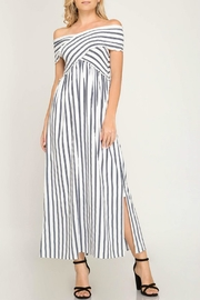 She + Sky Smocked Off-The-Shoulder Dress - Front cropped