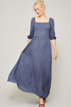 Promesa smocked on or off the shoulder maxi dress - Product List Image
