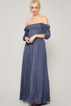 Promesa smocked on or off the shoulder maxi dress - Alternate List Image