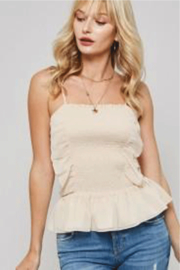 Promesa Smocked Peplum Cami Top - Front full body