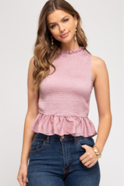 She + Sky Smocked Peplum Top - Front cropped