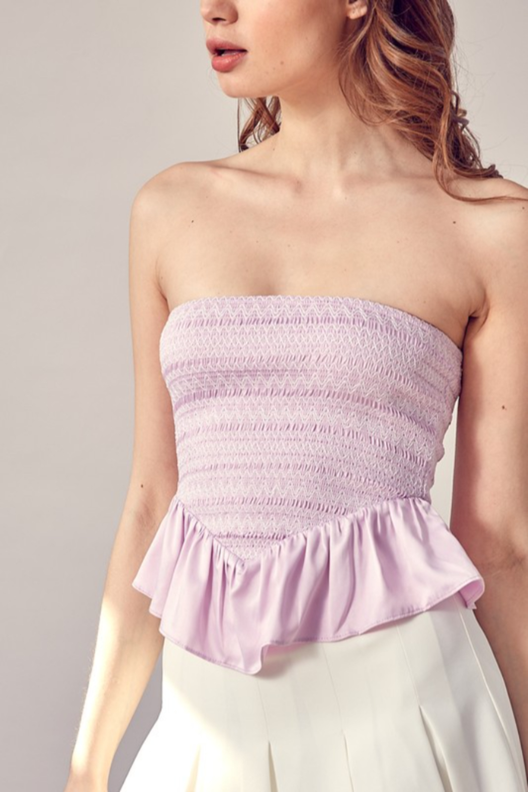 Idem Ditto  Smocked Peplum Tube Top - Front Cropped Image
