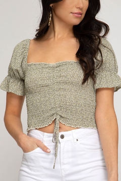 Shoptiques Product: Smocked Printed Crop Top