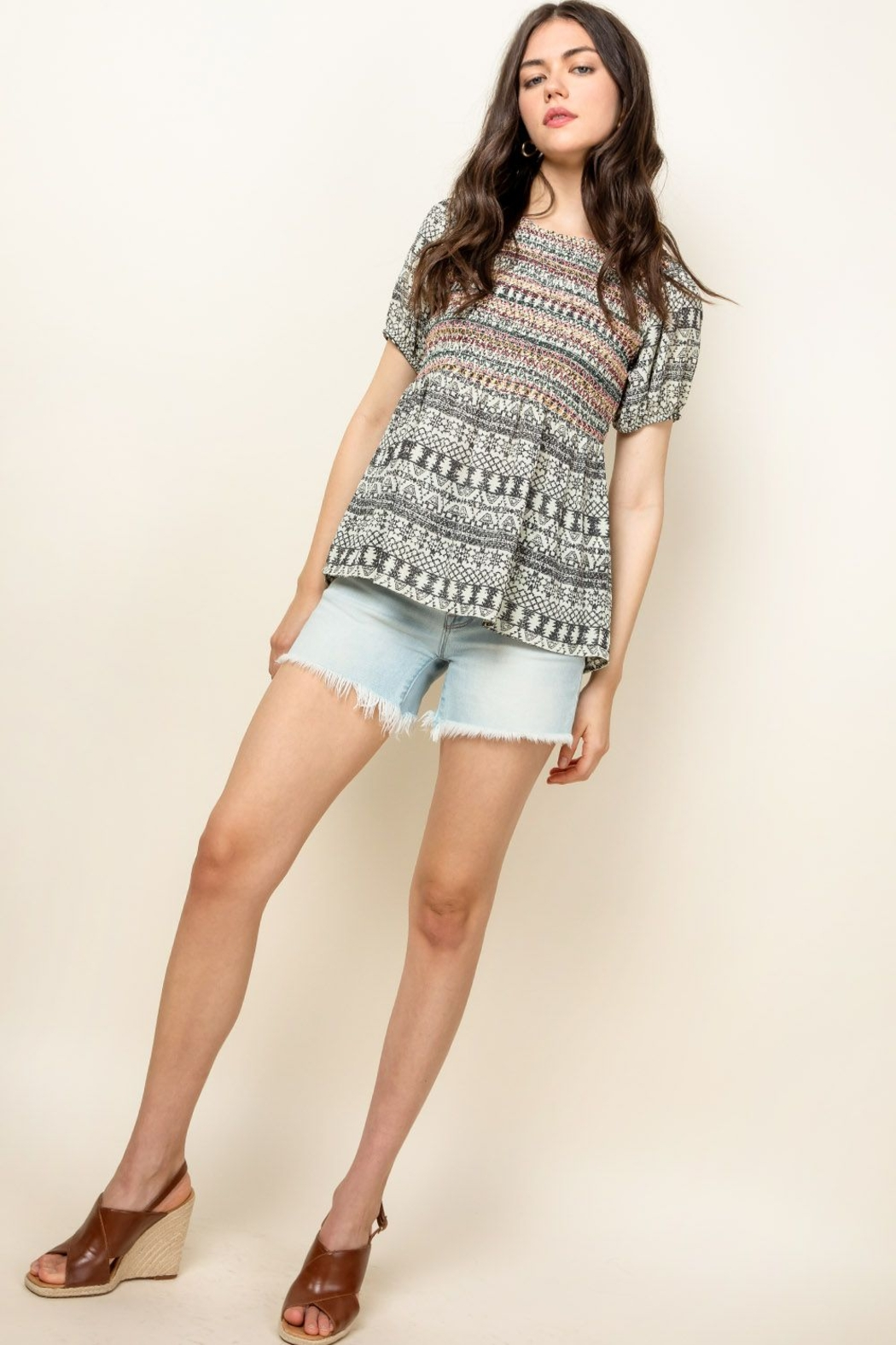 Thml Smocked Printed Top - Front Full Image