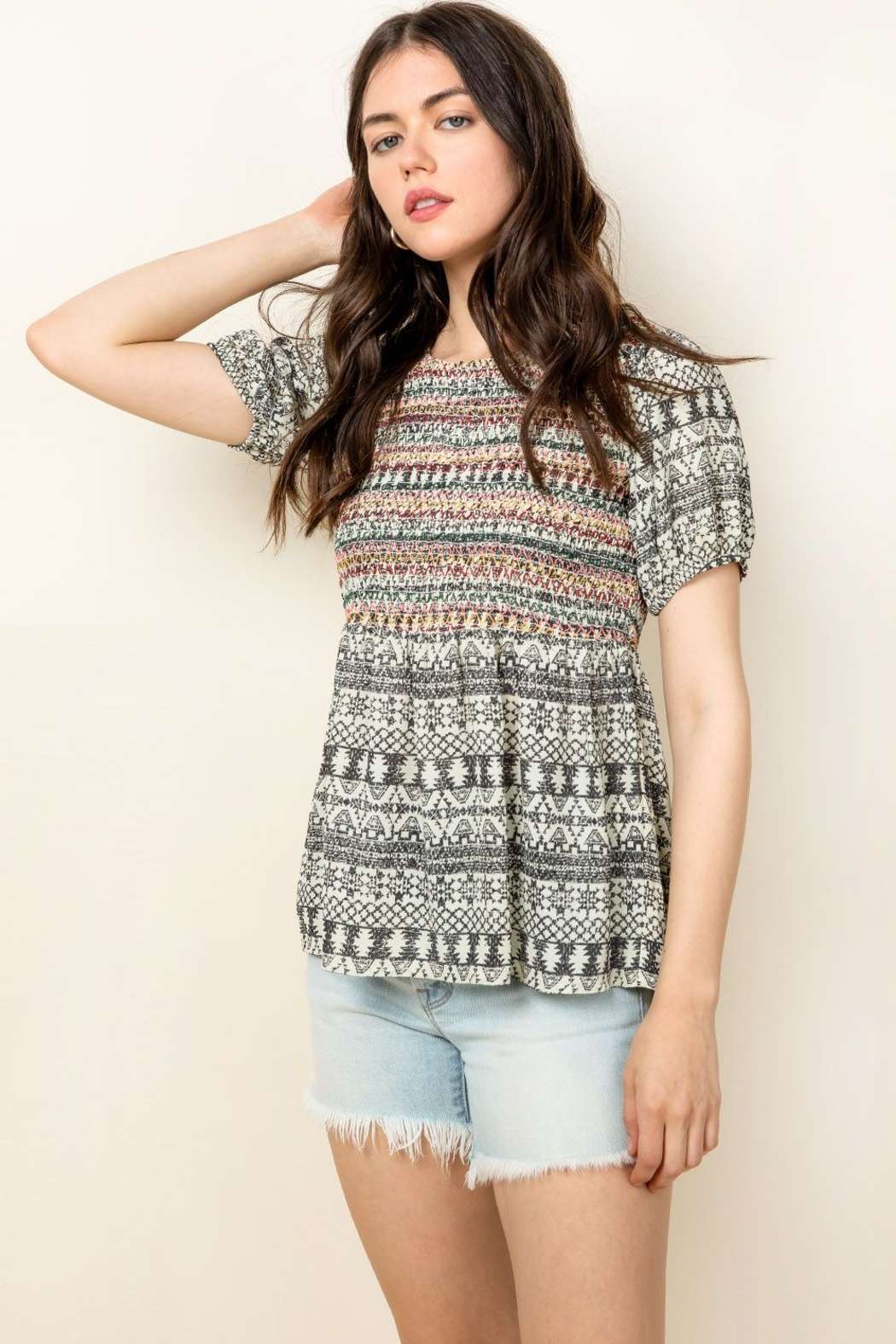 Thml Smocked Printed Top - Front Cropped Image