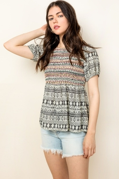 Shoptiques Product: Smocked Printed Top