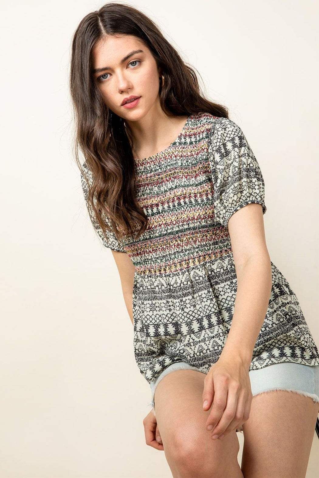 Thml Smocked Printed Top - Side Cropped Image