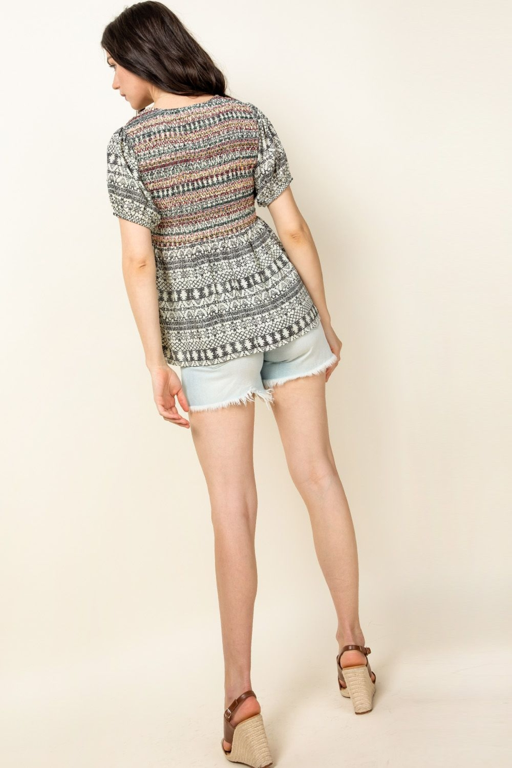 Thml Smocked Printed Top - Back Cropped Image