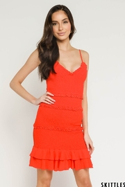 Olivaceous Smocked Ruffle Hem Dress - Front cropped