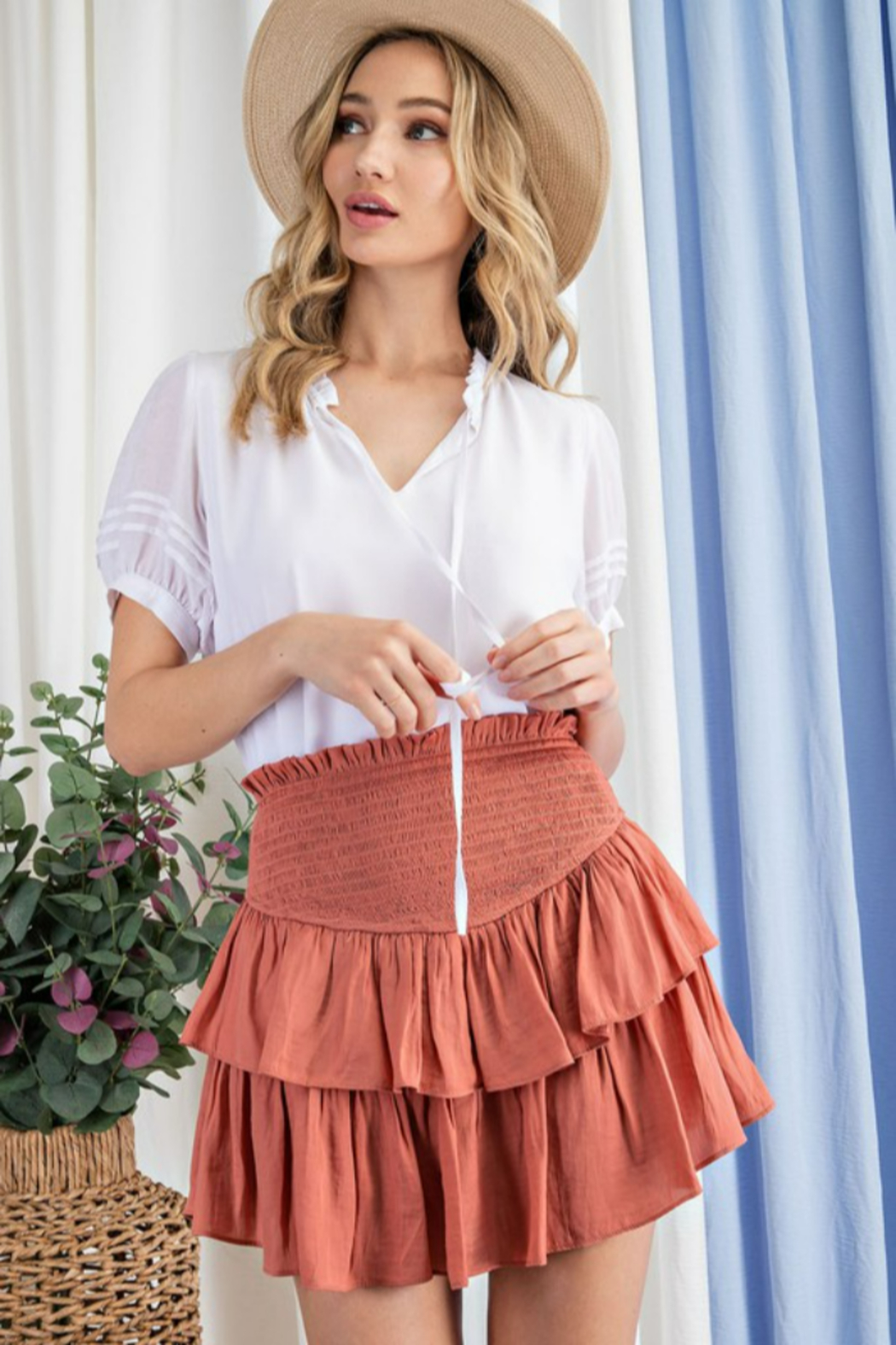 eesome Smocked Ruffle Mini Skirt - Front Cropped Image