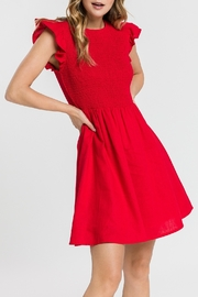 English Factory Smocked Ruffle Sleeve Dress - Front cropped