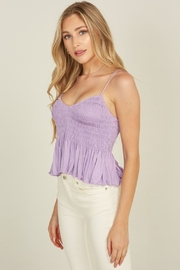 blue blush Smocked Ruffle Top - Front cropped