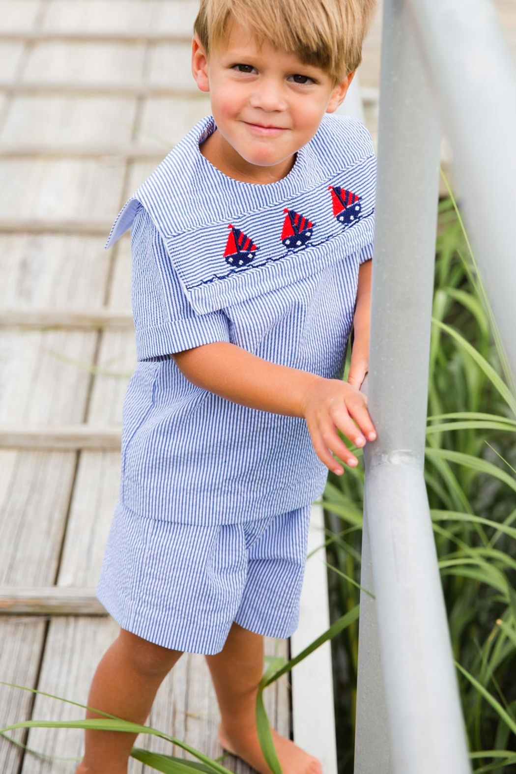 Bailey Boys Smocked-Sailboats Dressy Short-Set - Front Cropped Image