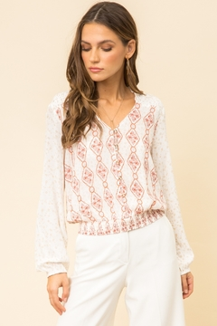 Hem and Thread Smocked Shoulder Mixed Print Blouse - Product List Image