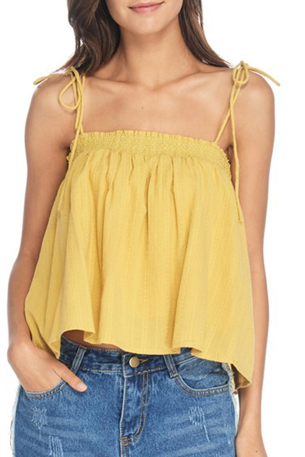 Anama Smocked Shoulder-Tie Tank - Front Cropped Image