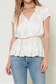 Current Air Smocked Slvls Top w Embroidered Hem - Front cropped