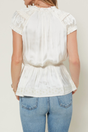 Current Air Smocked Slvls Top w Embroidered Hem - Front full body
