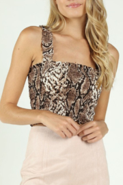 Wild Honey Smocked Snake Crop Top - Product Mini Image