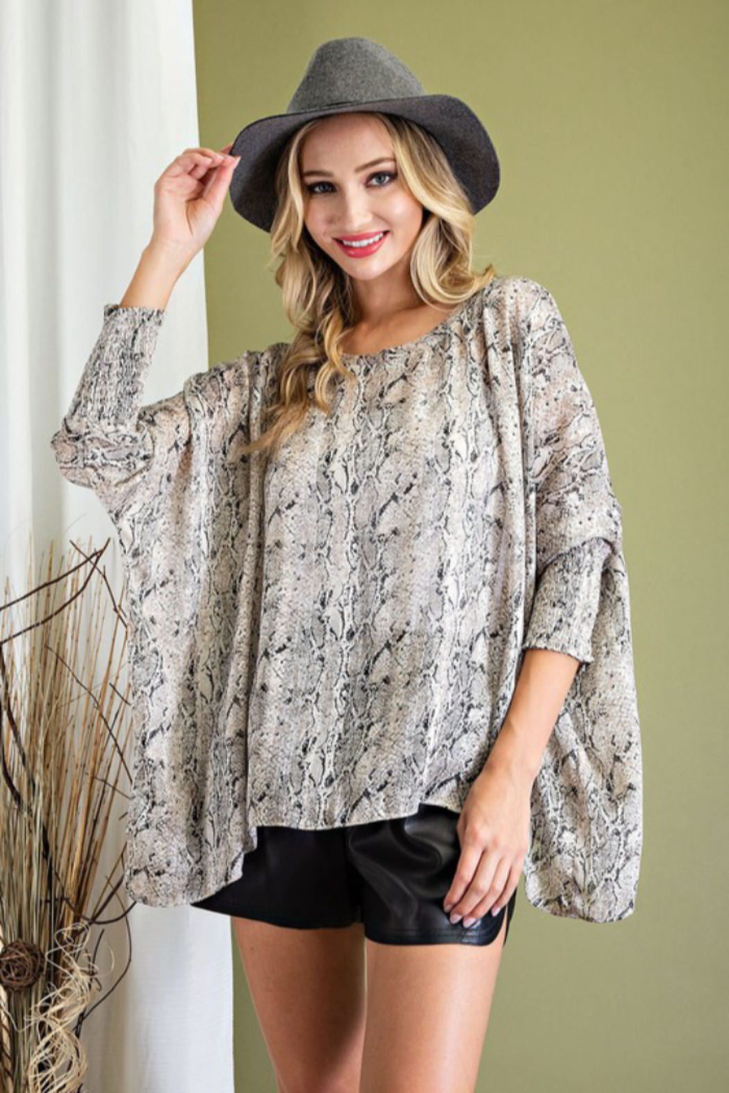 eesome Smocked Snake Dolman Top - Front Full Image