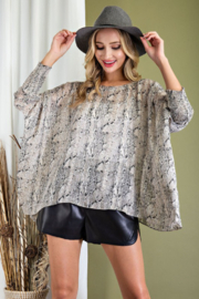 eesome Smocked Snake Dolman Top - Front cropped