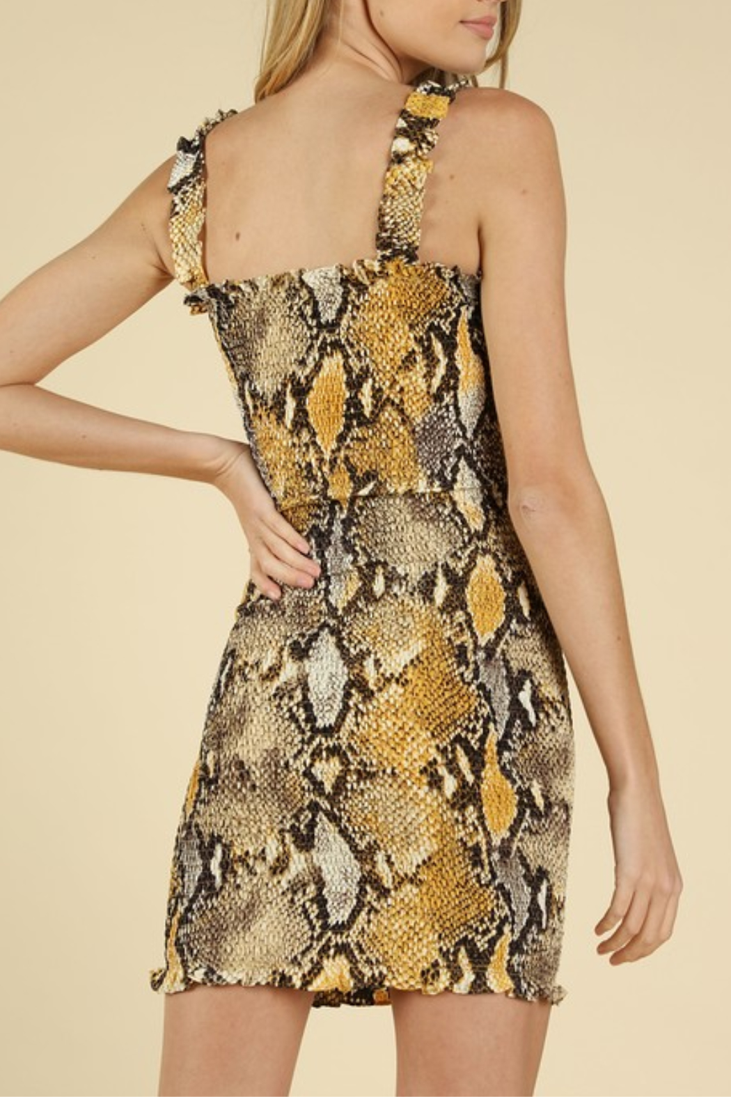 Wild Honey Smocked Snake Dress - Side Cropped Image