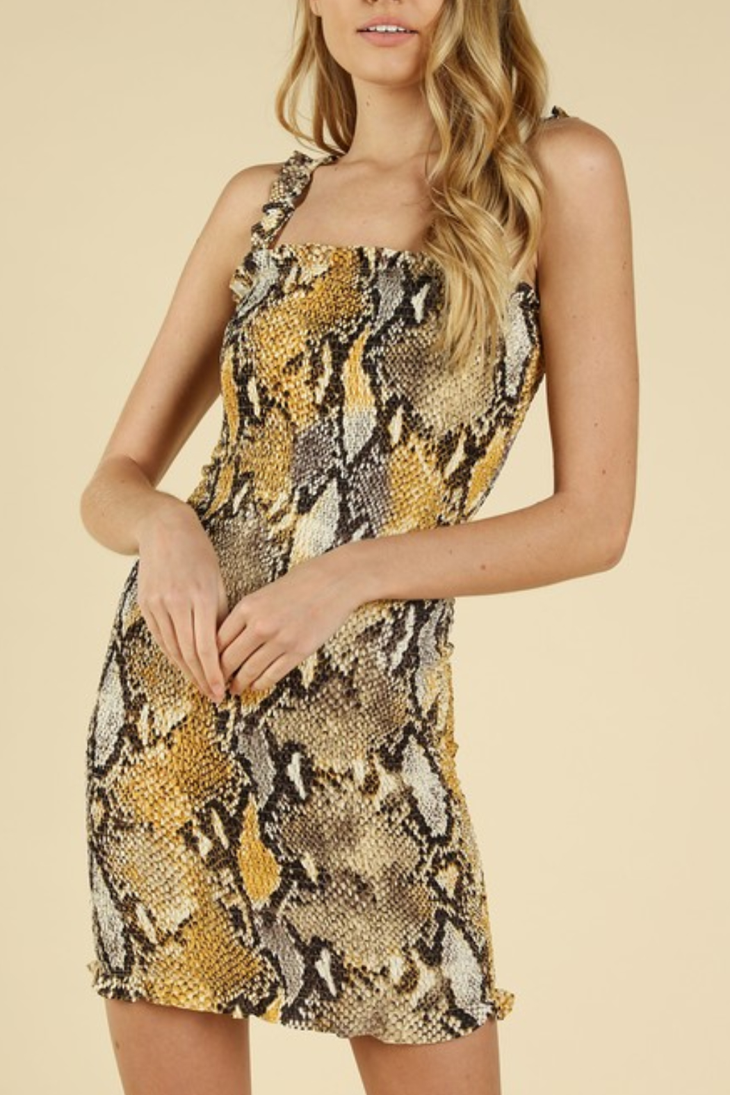 Wild Honey Smocked Snake Dress - Front Cropped Image